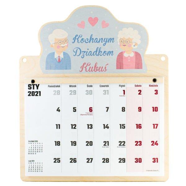 Drewniany kalendarz dla babci i dziadka