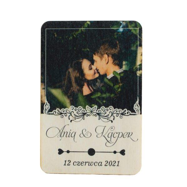 Drewniane magnesy ślubne z zdjęciem